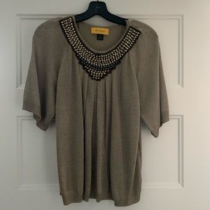 St. John gold and silver beaded top NWOT